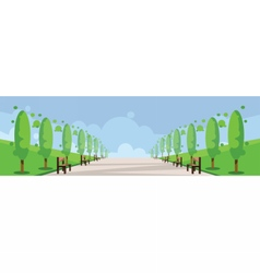 Abstract green landscape with alley vector