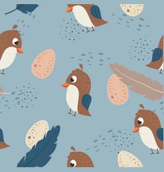 adorable little quail seamless pattern vector image