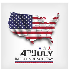 america map and waving flag independence day vector image