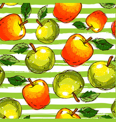 Apple seamless pattern hand-drawn apples on a vector