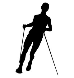 Athlete man skyrunner with trekking sticks vector
