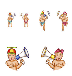 baby girl boy megaphone avatar icons vector image