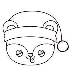 Bear cartoon of Merry Christmas design vector