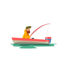bearded fisherman sitting in boat with fishing rod vector image