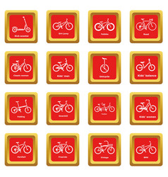 Bicycle types icons set red square vector