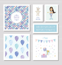 Birthday card templates set mermaid and little vector