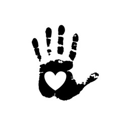 Black silhouette of human hand print with heart vector