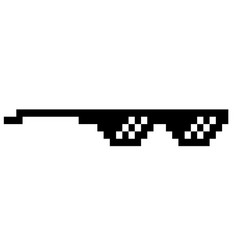 Black thug life meme like glasses in pixel art vector