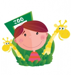 boy at zoo vector image