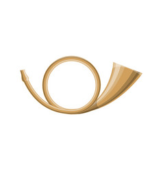 brass post horn isolated icon vector image