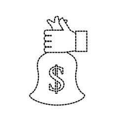 business hand holding bag money cash finance bank vector image