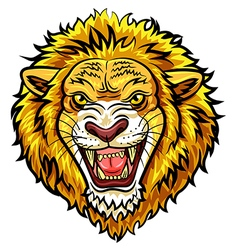 Cartoon head angry lion mascot vector