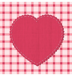 Checkered background with textile heart label vector