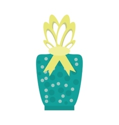 Colored gift box green dotted yellow bow decorated vector