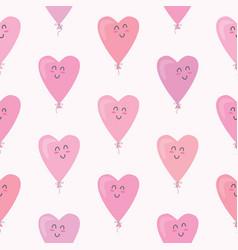 cute seamless pattern with kawaii hearts balloons vector image