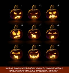 Dark Jack O Lantern Cartoon 9 Angry Expressions vector