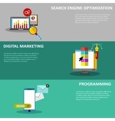 Digital marketing flat business colorful icons set vector image
