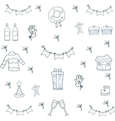 Doodle of christmas set flat hand draw vector