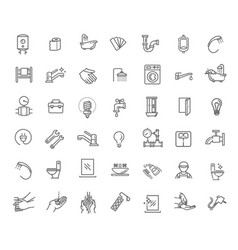 equipment bathroom engineering line icons vector image