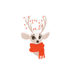 Flat christmas reindeer in red scarf head vector