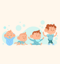 Flat stages of a baby boy vector