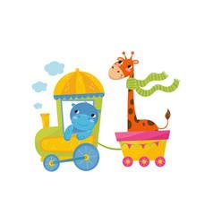 funny blue behemoth and orange spotted giraffe vector image