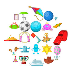 funny game icons set cartoon style vector image