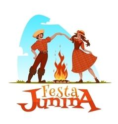 Girl and boy dancing at brazilian festa junina vector