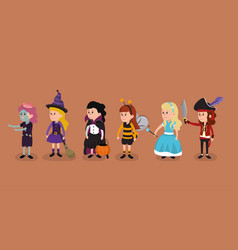 girls with halloween costumes vector image