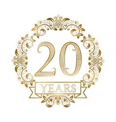 Golden emblem of twentieth years anniversary in vector image