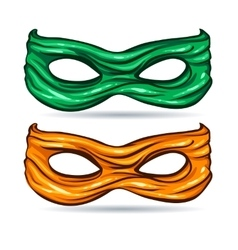 Green and yellow mask for face character super vector