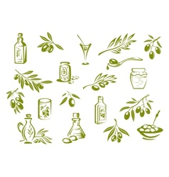 Green fresh pickled olives and olive oil symbols vector
