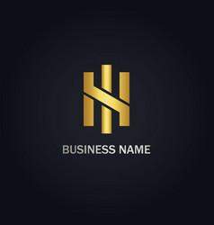 H initial shape line gold logo vector
