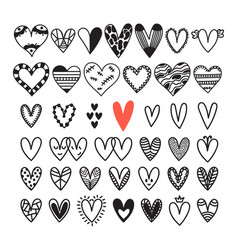 hand drawn set of hearts sketch collection for vector image