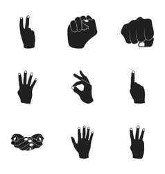 Hand gestures set icons in black style Big vector