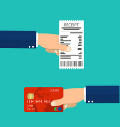 hand holding receipt and hand holding credit card vector image