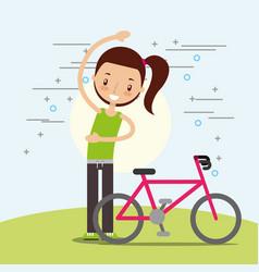 Happy girl training cardio exercise bike vector