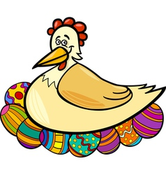 hen hatching easter eggs cartoon vector image
