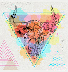 hipster realistic and polygonal animal bull vector image