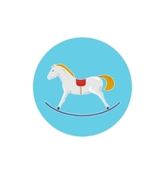 Icon Colorful Rocking Horse Merry Christmas vector