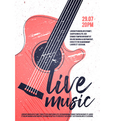 Indie rock live music poster template with guitar vector
