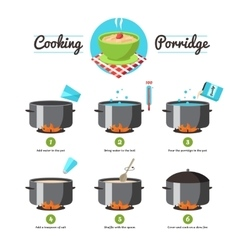 Instructions for cooking porridge vector