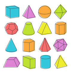 isometric geometric shapes vector image