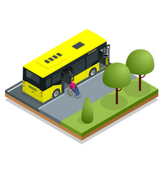 isometric yellow city bus at a bus stop man in a vector image