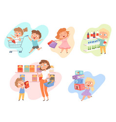 Kids shopping children playing in grocery market vector