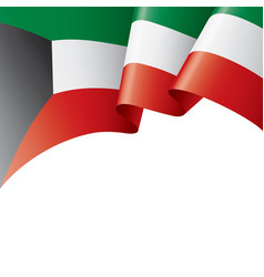 Kuwait flag on a white vector