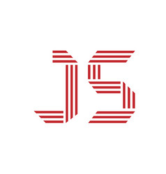 letter j and s with geometric three strips vector image