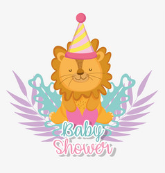 Lion with party hat to celebrate the baby shower vector