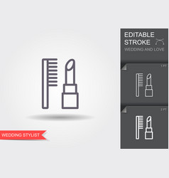 lipstick and combs line icon with shadow vector image