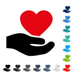 Love heart offer hand icon vector